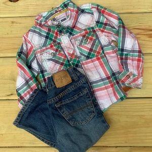 Children's Place Plaid Shirt Jeans Set Outfit 2t
